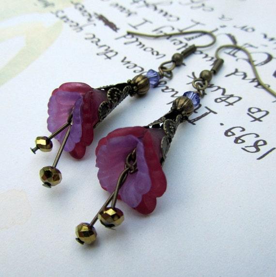 Flower Earrings Berry &  Purple,  Victorian Jewelry, Antique Bronze Earrings