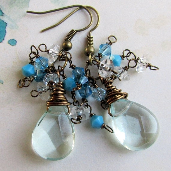 Aqua Blue Cluster Earrings, Blue Crystal Earrings, Beaded Jewelry