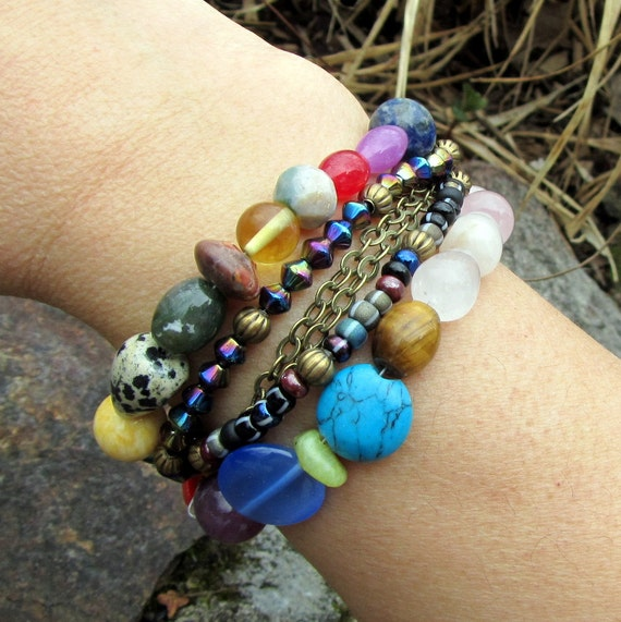 Beaded Bracelet, Colorful Stone and Glass Cuff Bracelet,  Bohemian Jewelry, Friendship Bracelet, Teen Girl, Gift for Her