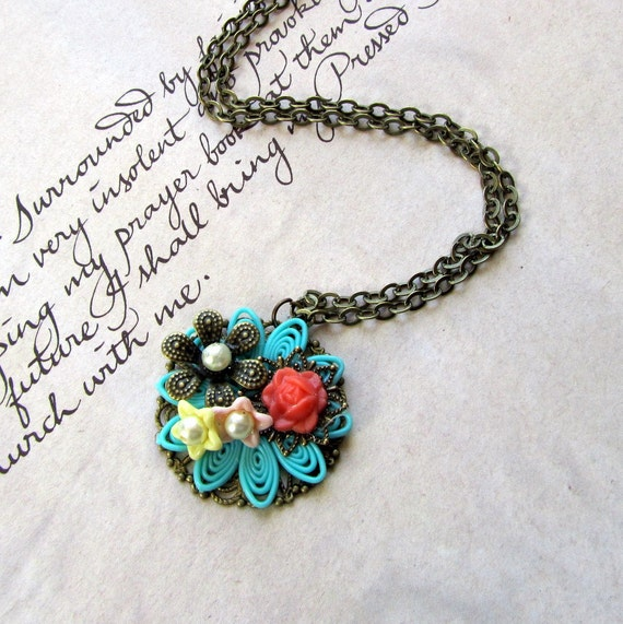 Collage Pendant  Necklace, Colorful Jewelry, Flower Pendant Necklace, Unique Jewelry