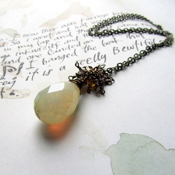 Long Necklace With Stone  Pendant,  Earth Tones, Unique Jewelry