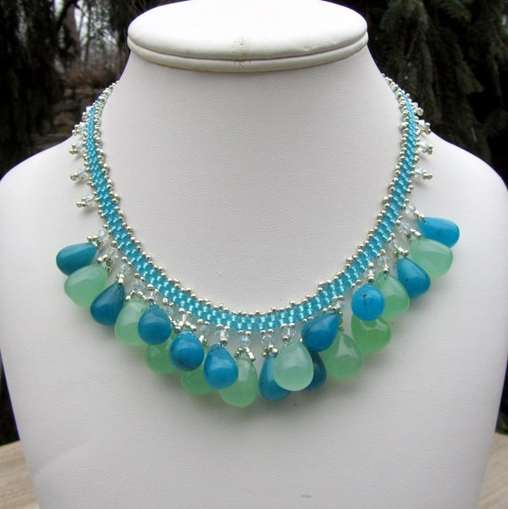 Blue and Green Bib Necklace,  Beaded Necklace with Quartz Gemstones, Seed Bead Jewelry