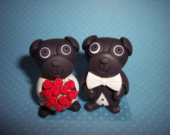 Black Pug Wedding Cake Toppers