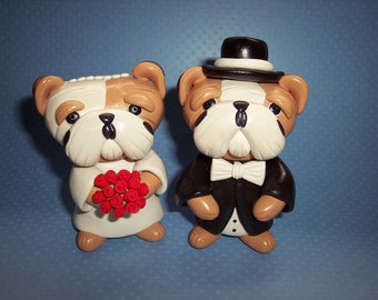 English Bulldog Wedding Cake Toppers - Small Size