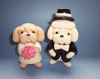 Shih Tzu and Bichon Wedding Cake Toppers