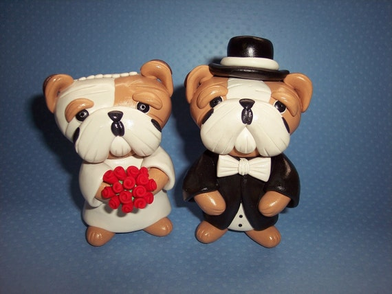 English Bulldog Wedding Cake Toppers