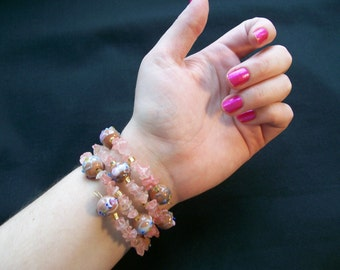 Cuff Bracelet in Pink with Cherry Quartz and  Beads - Lot 504