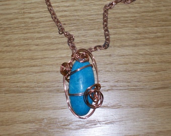 50% Off with Coupon Code NEWYEAR2016 - Copper and turquoise howlite wire-wrapped pendant and chain - LOT 500