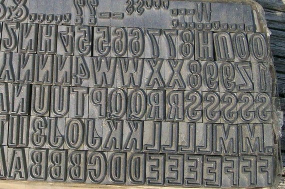 Letterpress Metal Letters, Perfect for Printing, Pottery, Precious Metal Clay -  Upper  Alphabet, Numbers, Extras - 122 Items - LOT 343