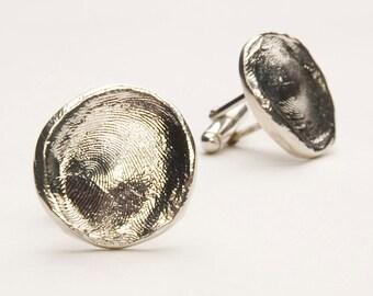 Loveprint Sterling Silver Fingerprint Cuff Links - Style#401