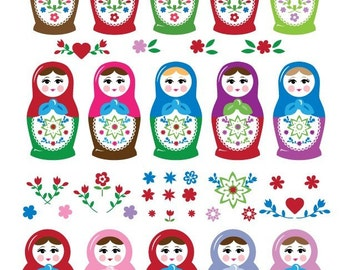 Matryoshka Doll Full Sheet Digital Collage Printable Images for Paper Crafts INSTANT DOWNLOAD