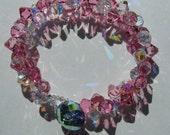Swarovski Pink Crystal Bracelet with Button Closure