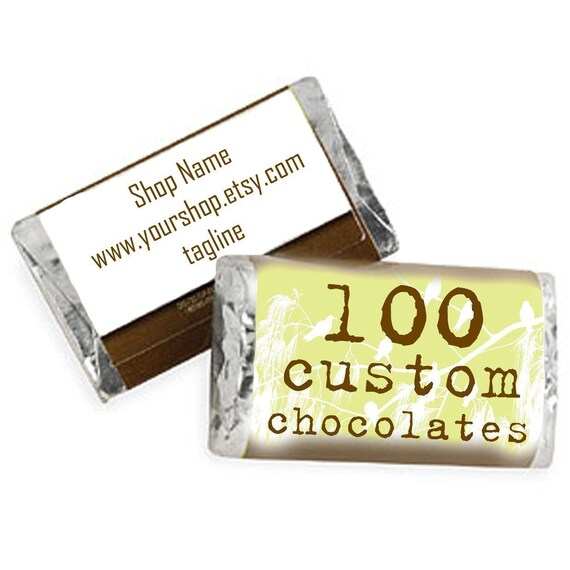 100 Custom Hershey Miniatures Full Color (multiple designs ok) Candy Included