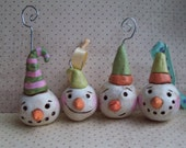 Set of Four Snowman Ornaments-clay ornament-READY TO SHIP