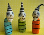 Colorful Skeleton Trio-clay folk art sculpture-READY TO SHIP