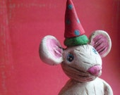 Christmas Mouse-paper clay sculpture-READY TO SHIP