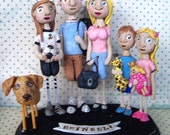 Family Portrait Customize your Family of FIVE on Base folk art sculpture