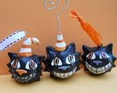 Set of three smiling cat  Halloween ornaments