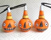 Candy Corn Jack O Lantern- Primitive Halloween ornament