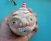 Santa Ball with tiny red hat-Christmas Ornament