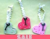 Sale Key To My Heart in Hot Pink-folk art ornament