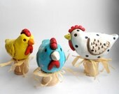 RESERVED White and Yellow Polka Dot Folk Art Chickens clay sculpture
