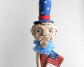 Uncle Sam in Red White and Blue on Vintage Spindle Patriotic Decoration