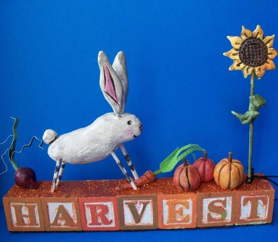 Harvest Rabbit-paperclay sculputre-READY TO SHIP