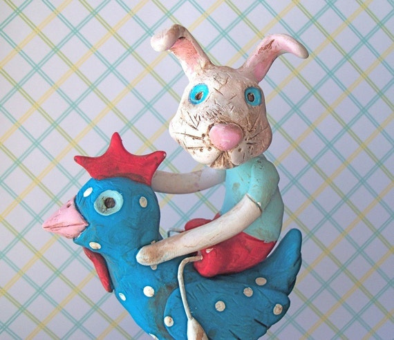 Rabbit Rooster Rider-clay folk art sculpture-READY TO SHIP