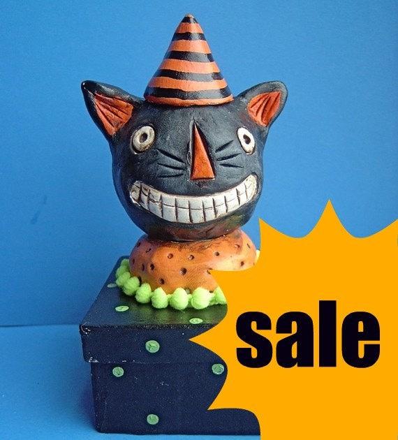 Sale Black Halloween Cat Trinket Box