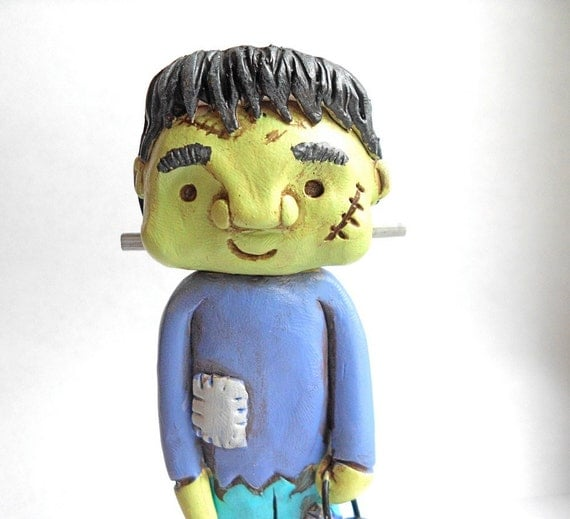 Trick or Treat Halloween Boy in Frankenstein Costume clay folk art sculpture