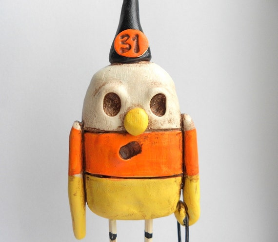 Candy Corn Man Yellow White and Orange clay folk art sculpture Halloween Decoration