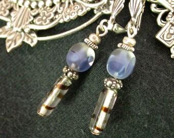 Dangle Earrings, Vintage Glass, Artisan Jewelry, Unique Jewelry, Handcrafted Earrings