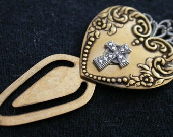 Heart Bookmark with Cross by Sunnylook on Etsy