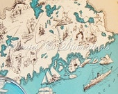 Maine - Vintage Map - 1930s Maine - A Fun and Funky Little Vintage Picture Map of Maine to Frame