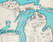 Michigan - Vintage Maps - 1930s Michigan - Michigania - A Fun and Funky Vintage Picture Map to Frame