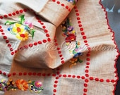 Cottage Chic - Red Polka Dots - Small Embroidered Linen Tablecloth - Boho - Poland - Polish - Heavy Linen
