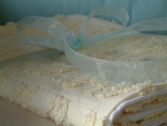 YELLOW VINTAGE CHENILLE Boutique Baby Blanket