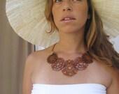 SUNNY ORANGE LACE NECKLACE, Laser cut  Necklace