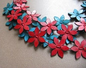 Deep Red And Turquoise Leather Flowers Necklace