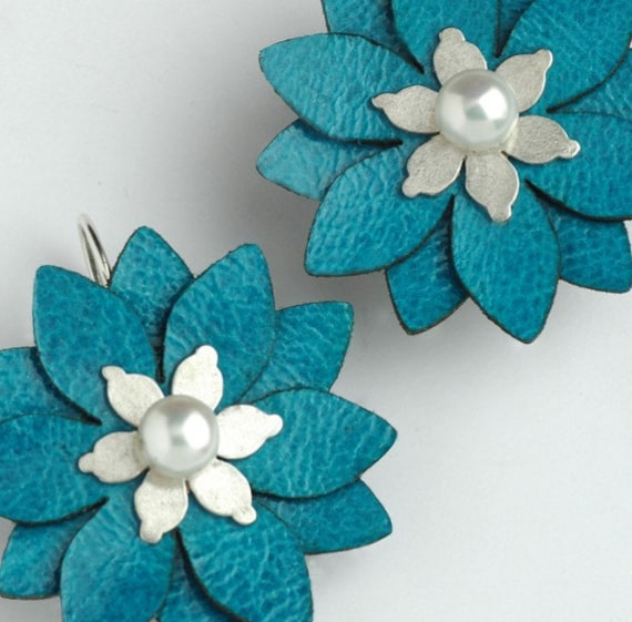 Turquoise  Leather and Pearl Flower Earrings