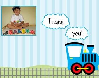 Custom Printable Train Birthday Party Thank You Card