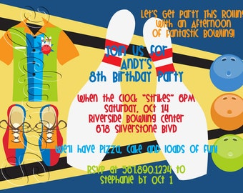 25 5x7 Bowling Birthday Party Invitations