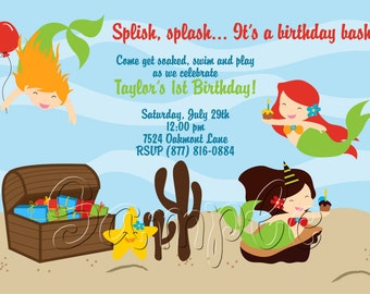 25 5x7 Little Mermaid Under the Sea Birthday Party Invitations