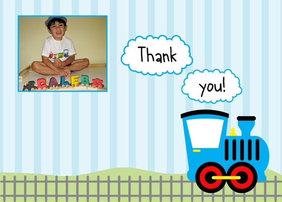 Custom Printable Train Birthday Party Thank You Card