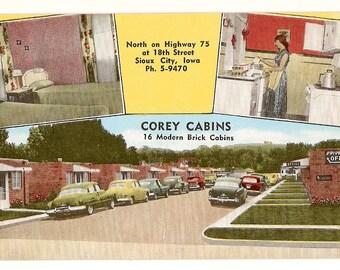 1950s Postcard - Motel, Corey Cabins, Sioux City, IA