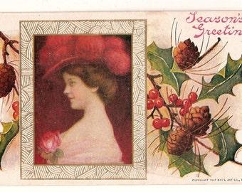1907 Christmas Postcard with Pretty Woman