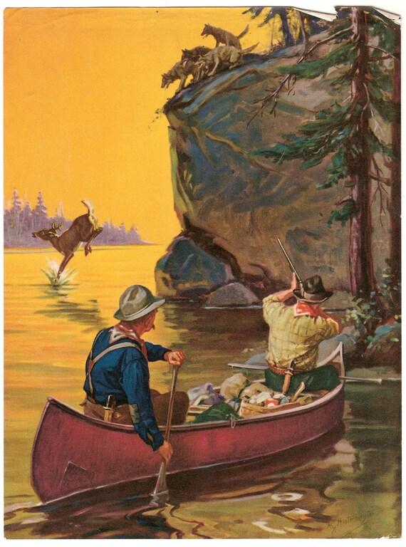 Vintage Calendar Print C 1930 Hunters In Canoe Hy
