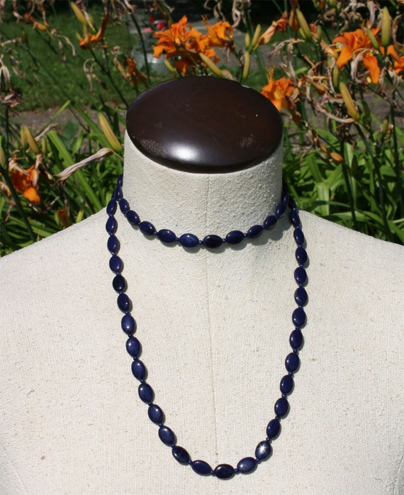 Midnight Blue Long Beaded Glass Necklace