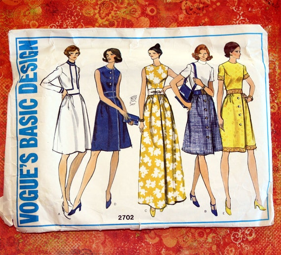 Vintage Sewing Pattern - Vogue 2702 - 5 Styles - Retro -  Size 12